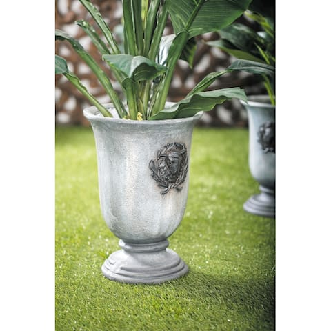 Grey Resin Rustic Planter 16 x 11 x 11 - 11 x 11 x 16Round