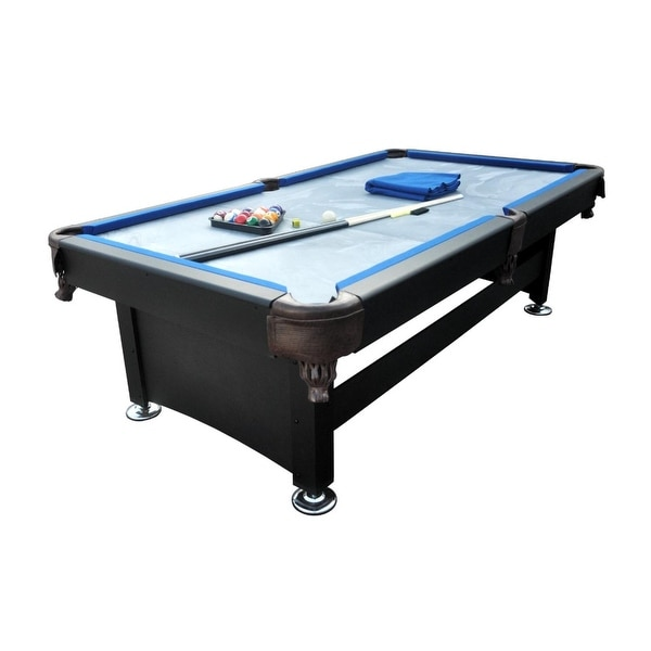 8' x 4.3' Black and Blue Slate Billiard and Pool Game Table