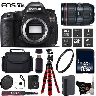 Canon EOS 5DS DSLR Camera With 24-105mm f/4L II Lens + Wireless Remote + Case + Card Reader Bundle - Intl Model