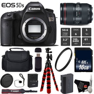 Canon EOS 5DS R DSLR Camera With 24-105mm f/4L II Lens + Wireless Remote + Tripod + Card Reader Bundle - Intl Model