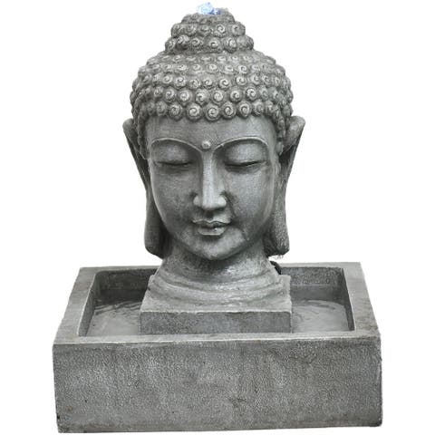 Hanover 20.5-In. Buddha Head Indoor or Outdoor Garden Fountain with LED Lights for Patio, Deck, Porch