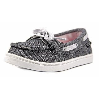 Roxy TW AHOY II B Toddler Moc Toe Canvas Black Boat Shoe (Option: 9)