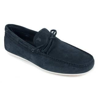 Tods Mens Navy Suede White Sole Front Tie Gommino Moccasins