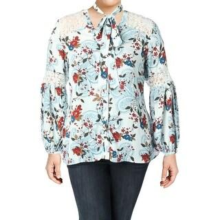 Michel Studio Womens Button-Down Top Lace Printed