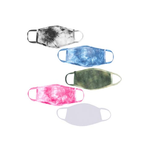 5-Pack Adult Assorted Tie Dye Polyester Cotton Lined Cloth Face Masks