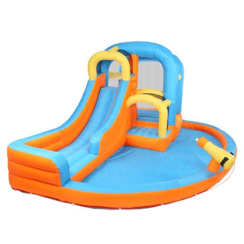 5-in-1 Inflatable Water Slide Park, Bounce House w/Air Blower, Climbing Wall, Double Jump Area , Water Slide Castle - Big slide