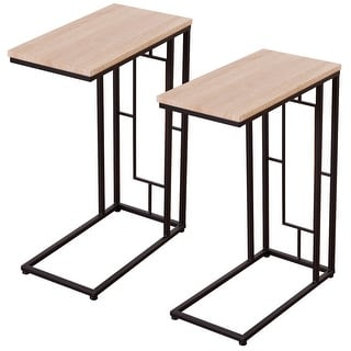 Costway Set Of 2 Coffee Tray Side Sofa End Table Ottoman Couch Room Stand TV Lap Snack - as pic
