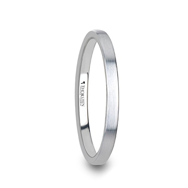 THORSTEN - MAISIE Flat Style Womens White Tungsten Carbide Ring with Brushed Finish - 2 mm