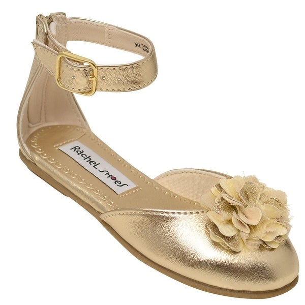 338ed2bc22 Rachel Little Girls Gold Flower Adorned Closed Toe Dress Shoes