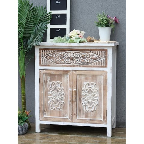 Weathered Wood Cabinet with 1 Drawer and 2 Doors Vintage Accent Storage Chest for Entryway, Living Room
