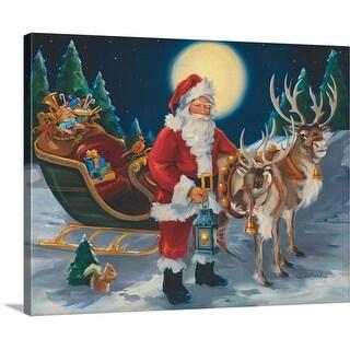 Susan Comish Premium Thick-Wrap Canvas entitled Santa with lantern