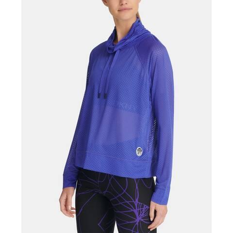 Dkny Sport Women's Mesh Funnel-Neck Top, Blue, Small