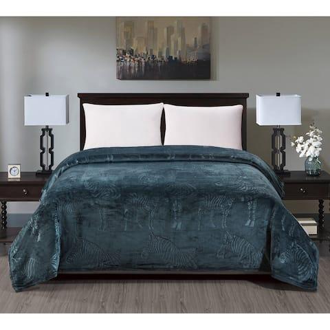 Zebra Embossed Blanket Queen Oxford Blue