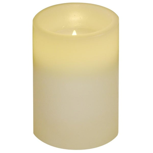 """4"""" Ivory White Battery Operated Flameless Flickering Wax Pillar Candle - N/A"""