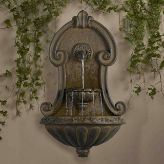 "33"" Italian Style Copper Finish Cascading Outdoor Patio Garden Wall Water Fountain - N/A"