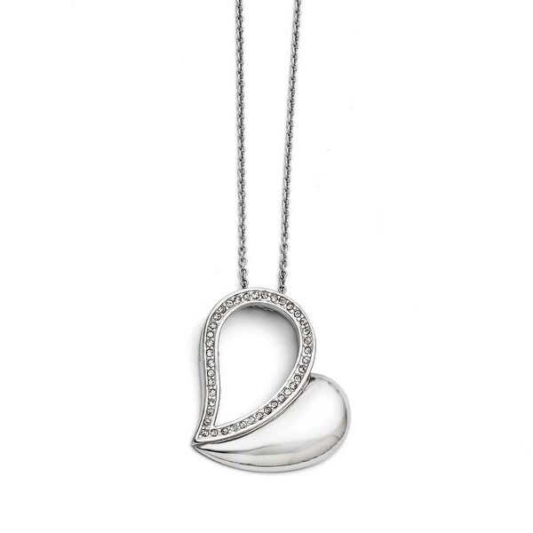 Chisel Stainless Steel Polished Heart with Crystals Necklace (1 mm) - 17.5 in