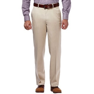 Haggar Straight Fit Sustainable Stretch Chinos Flat Front Khaki Pants (Option: Beige)