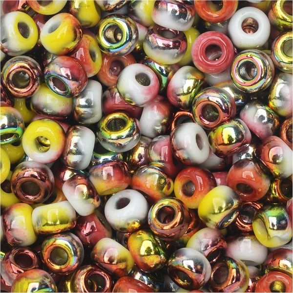 BeadSmith Unions, 6/0 Round Seed Beads, 20 Gram Tube, White Opaque Funky Apple
