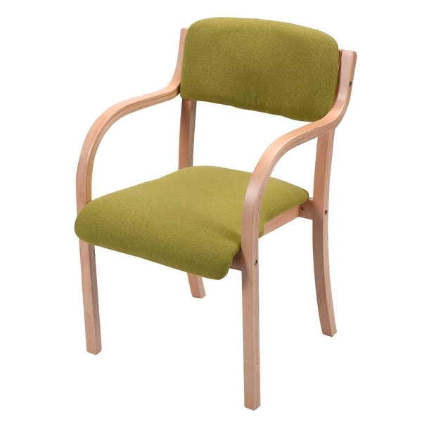 Costway Bentwood Arm Dining Chair Accent Chair Upholstered Home Room  Furniture