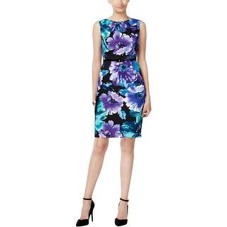 Connected Apparel Womens Wear to Work Dress Floral Print Sheath