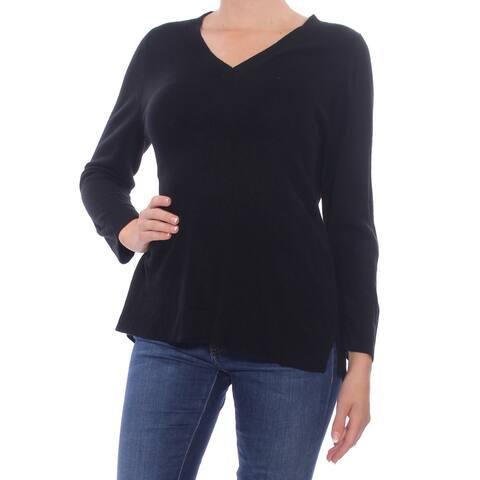 KAREN SCOTT Womens Black Slitted 3/4 Sleeve V Neck Sweater Size M