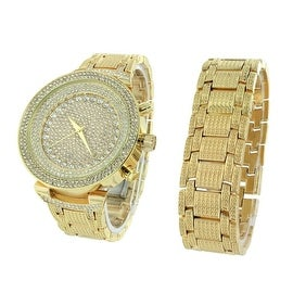 Mens Iced Out Watch & Bracelet Set Iced Out Simulated Diamonds Analog Display Gold Finish