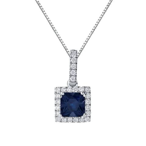 Auriya 1ctw Princess-cut Sapphire Halo Diamond Necklace 1/4cttw 14k Gold