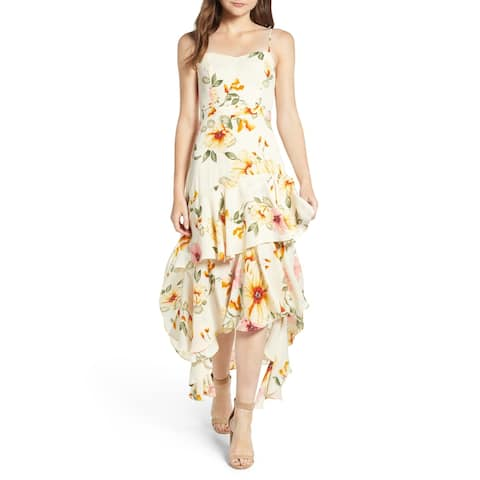Leith Yellow Womens Size XL Tiered Ruffle Floral Hi-Lo A-Line Dress
