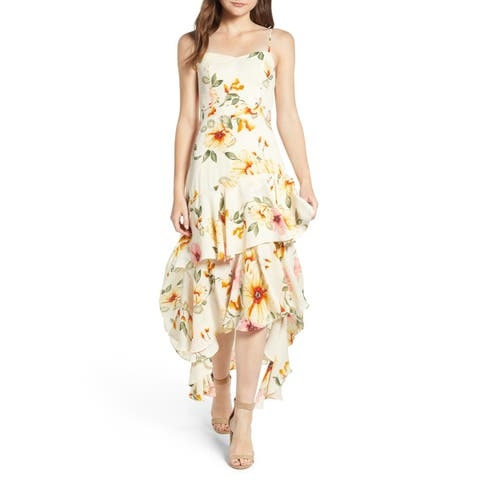 Leith Yellow Womens Size XXL Tiered Ruffle Floral Hi-Lo A-Line Dress
