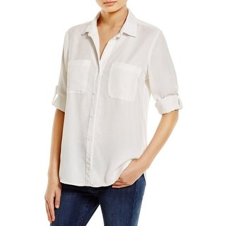Side Stitch Womens Button-Down Top Tencel Solid