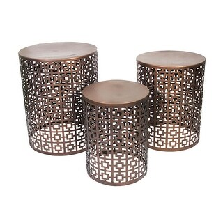 Set of 3 Nesting Indoor / Outdoor Copper Finished Geometric Accent Stools