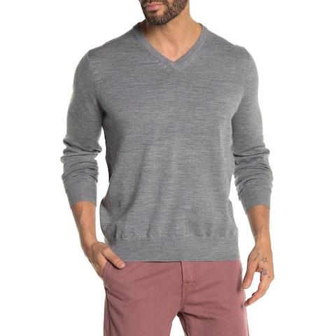 Thomas Dean Mens Wool Blend V-Neck Knit Sweater X-Large Light Grey