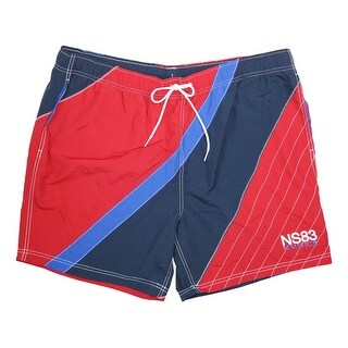 Nautica Red Mens Size Large L Diagonal Color Board Surf Shorts