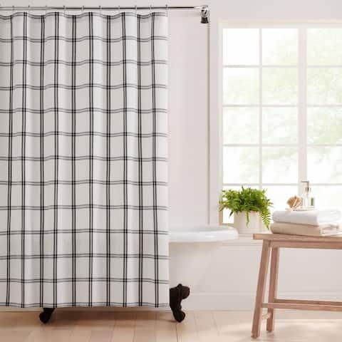 Farmhouse Living Double Windowpane Plaid Fabric Shower Curtain