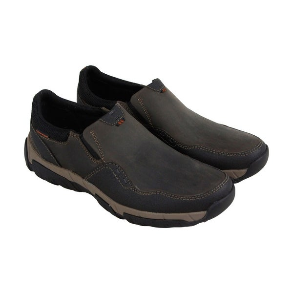 Clarks Walbeck Style Mens Gray Leather Casual Dress Slip On Oxfords Shoes