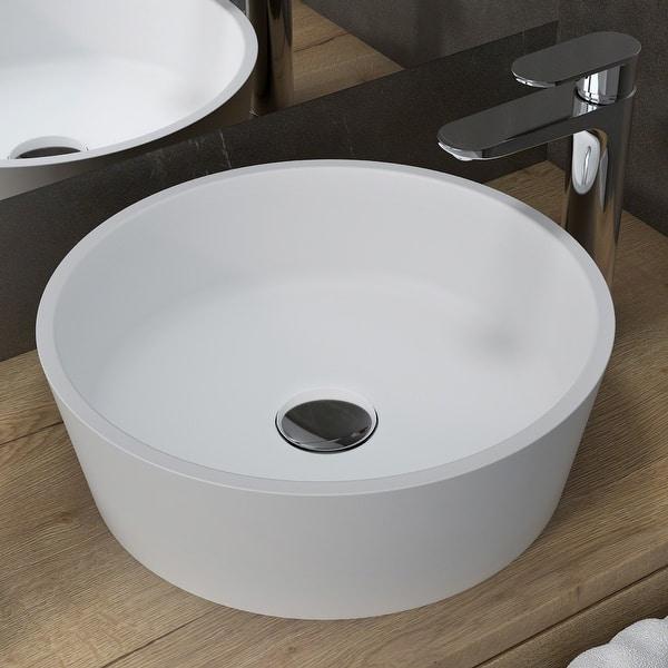 Kraus Natura 15 Inch Round Vessel Stone Resin White Bathroom Sink Overstock 19496561