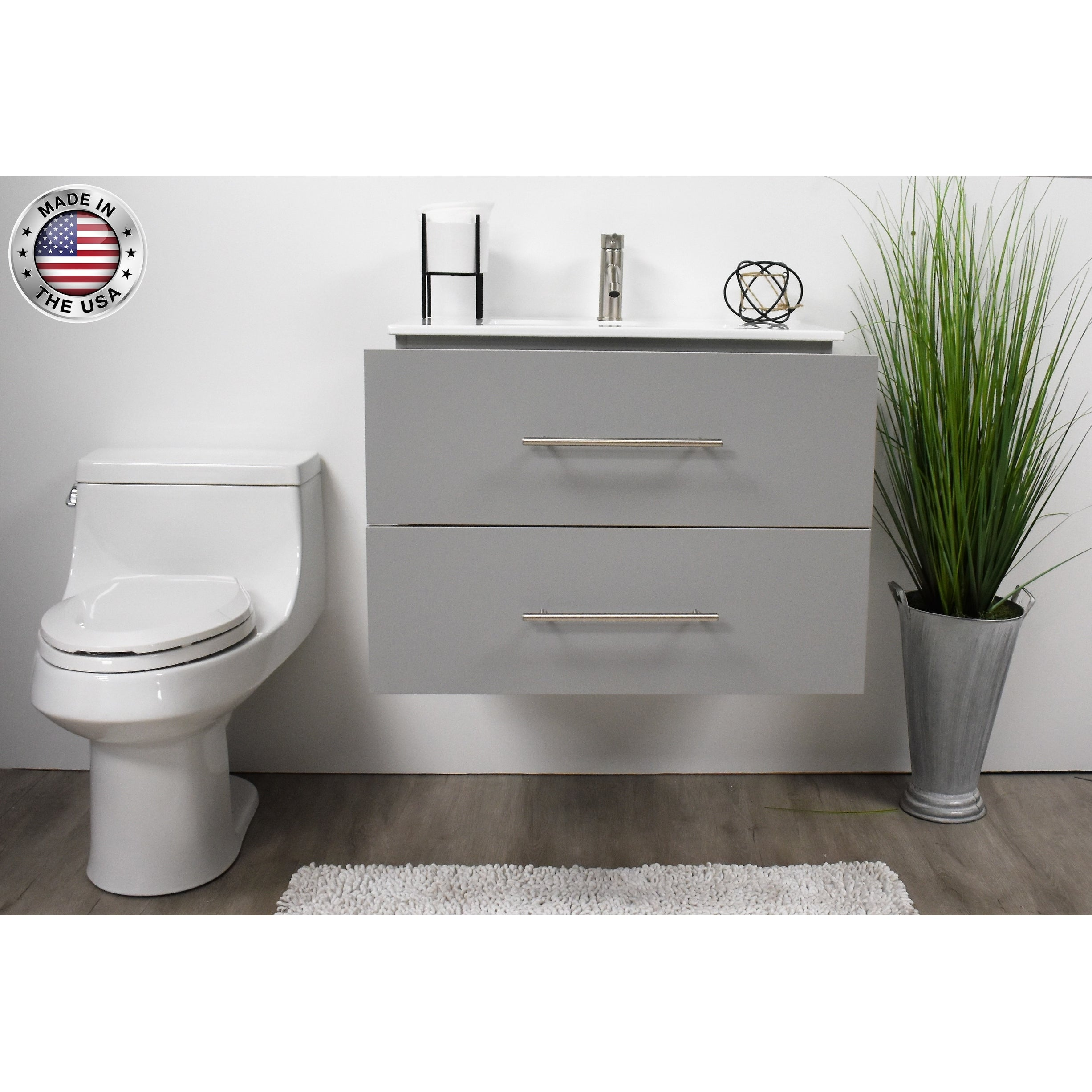 Volpa Usa Napa 24 Inch Grey Wall Mounted Floating Bathroom Vanity Set Overstock 32207293