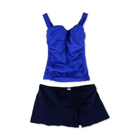 Profile Womens Ruched Sli Side Tie 2 Piece Tankini, Blue, 32D
