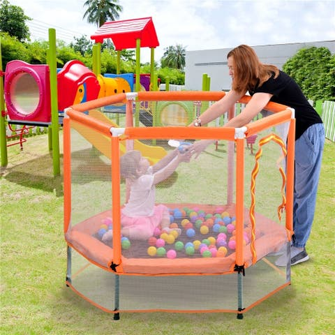 55 Toddlers Trampoline with Safety Enclosure Net and Balls Indoor Outdoor Mini Trampoline for Kids