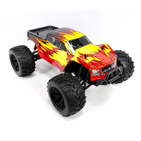 ALEKO Off-Road 4WD Electric 1:10 Scale RC Monster Truck Red/ Yellow Flame Design - 18.6 x 12.7 x 7.5 inches