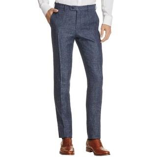 Valentini Mens Slim Fit Melange Textured Trousers 32 Blue Grey Pants