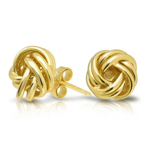85961920935 Shop Love Knot Stud Earrings Round Ball Classic Woven Twisted Rope Knot 14K Gold  Plated 925 Sterling Silver 9mm - On Sale - Free Shipping On Orders Over  45  ...