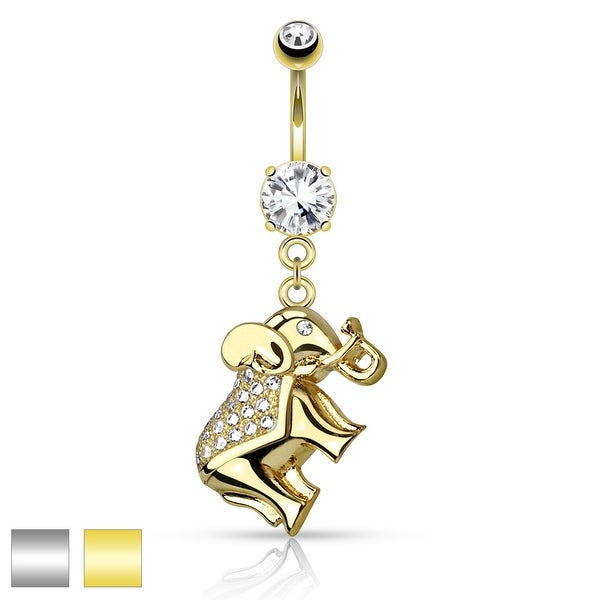 CZ Pave Elephant Dangle Surgical Steel Belly Button Navel Ring - 14GA (Sold Ind.)