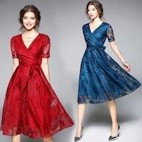 Summer Feather Pattern V-neck Lace Dress