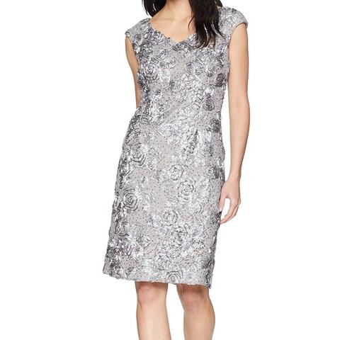 Alex Evenings Gray Womens 12 V-Neck Floral Soutache Sheath Dress
