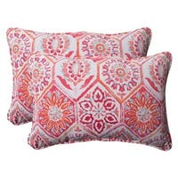 """Set of 2 Pink Pyschedelic Outdoor Patio Corded Rectangular Throw Pillows 24.5"""""""