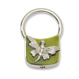 Silvertone Dragonfly w/Crystals Olive Enamel Key Fob