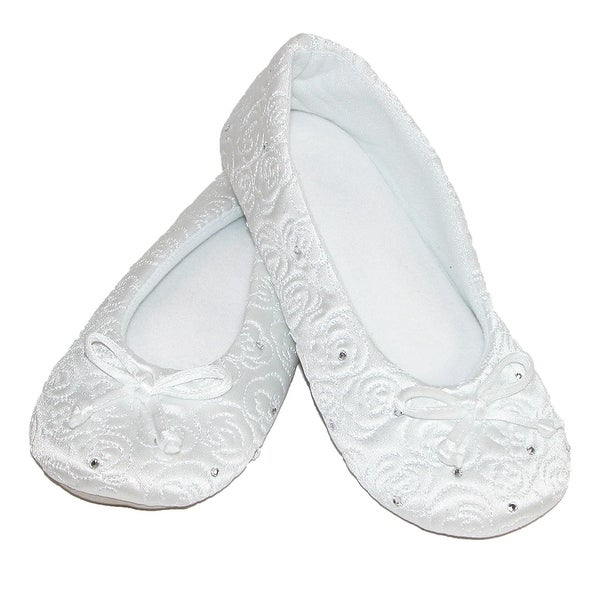 Isotoner Women's Terry Lined Rose Quilted Ballerina Slippers