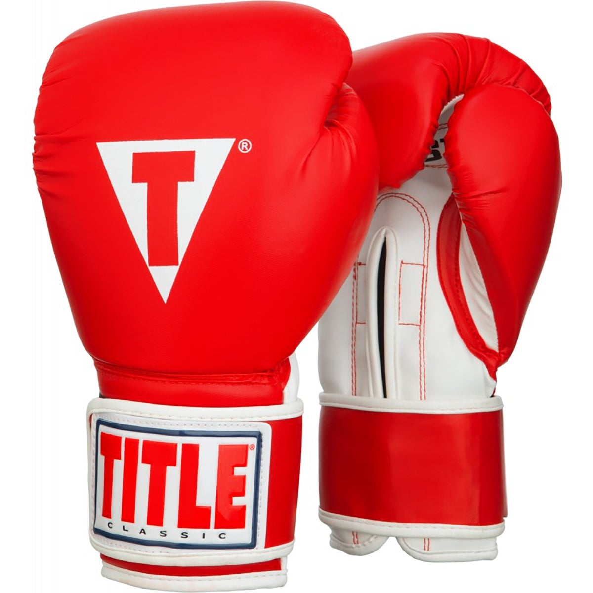 New in Bag Title Classic Boxing Leather Training Gloves Size Large 14oz Red