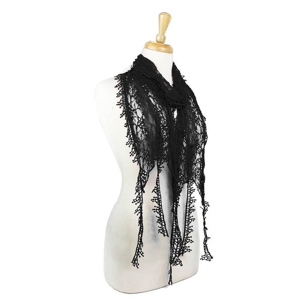 Women's Lightweight Long Knit Lace Scarf